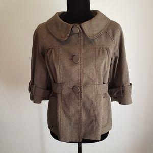 Sz 4 Loft 3/4 sleeve black and tan blazer